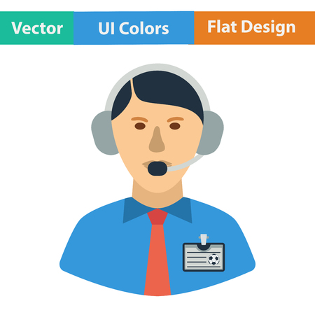commentator: Flat design icon of football commentator in ui colors. Vector illustration.
