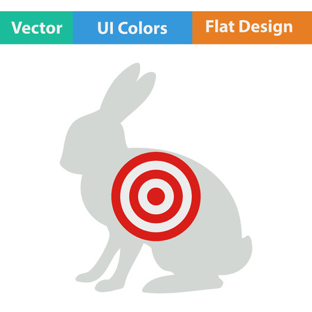 wildlife shooting: Flat design icon of hare silhouette with target  in ui colors. Vector illustration. Illustration
