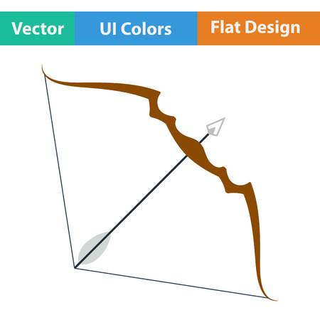 longbow: Flat design icon of bow and arrow  in ui colors. Vector illustration.