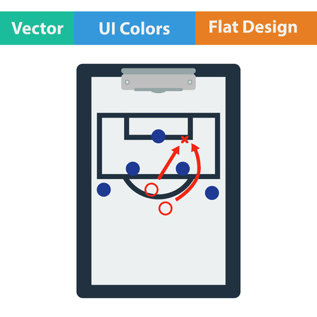 football coach: Flat design icon of football coach tablet with game plan in ui colors. Vector illustration.