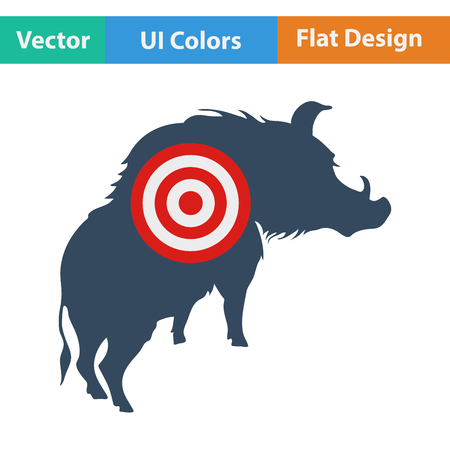 sow: Flat design icon of boar silhouette with target  in ui colors. Vector illustration.