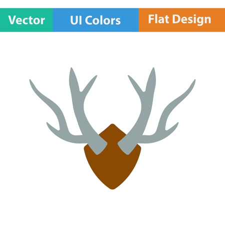 taxidermy: Flat design icon of deers antlers  in ui colors. Vector illustration. Illustration