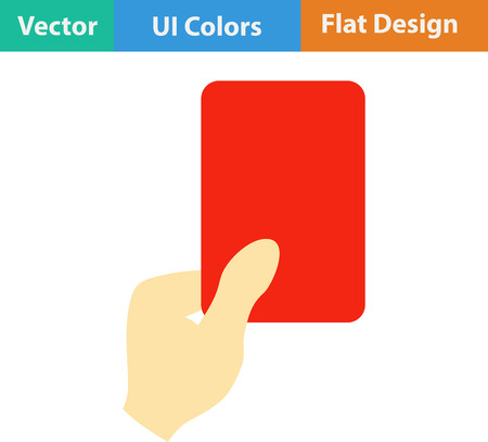 football referee: Flat design icon of football referee hand with red card in ui colors. Vector illustration.