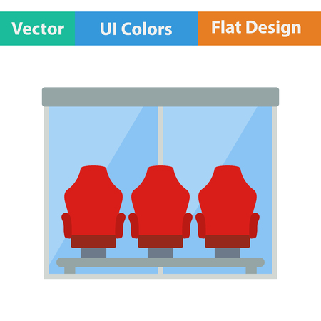 single seat: Flat design icon of football players bench in ui colors. Vector illustration.