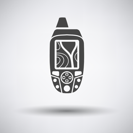 gps device: Portable GPS device icon on gray background with round shadow. Vector illustration.