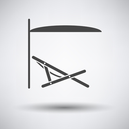 recliner: Sea beach recliner with umbrella icon on gray background with round shadow. Vector illustration. Illustration