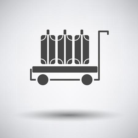 valigia: Deposito cart icon su sfondo grigio con ombra rotonda. Illustrazione vettoriale.