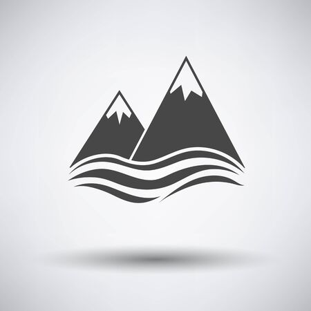 peaks: Snow peaks cliff on sea icon on gray background with round shadow. Vector illustration. Illustration