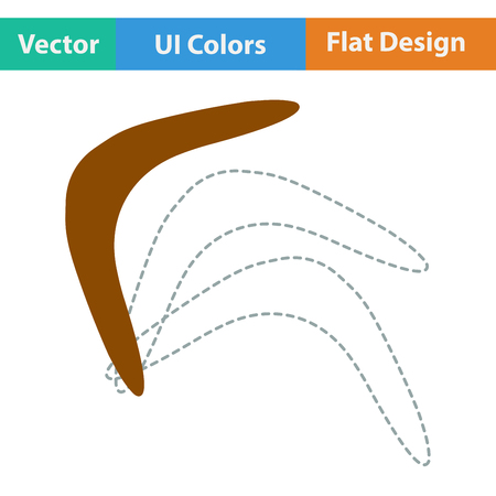 wooden boomerang: Flat design icon of boomerang in ui colors. Vector illustration.