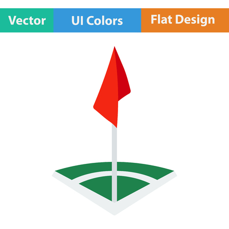 corner flag: Flat design icon of football field corner flag  in ui colors. Vector illustration.