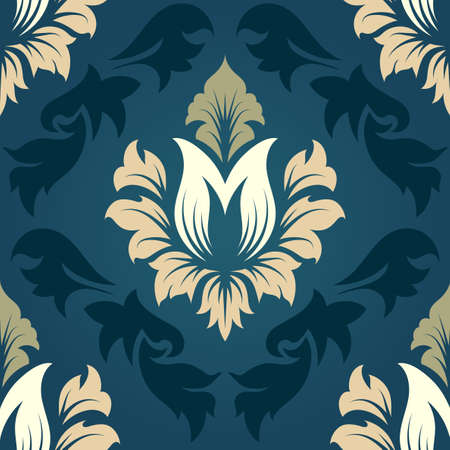 renaissance: Damask seamless pattern from floral and swirl elements. Vector illustration.