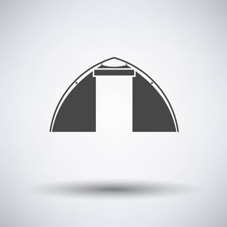refuge: Touristic tent  icon on gray background with round shadow. Vector illustration.