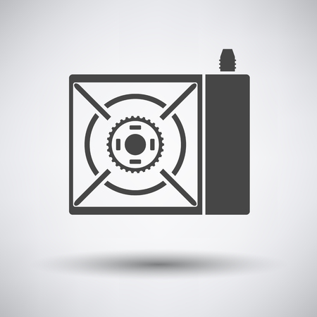 travel burner: Camping gas burner stove icon on gray background with round shadow. Vector illustration. Illustration