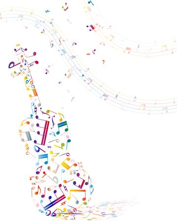 Muzikale achtergrond met viool uit kleurrijke notities. Vector illustratie.