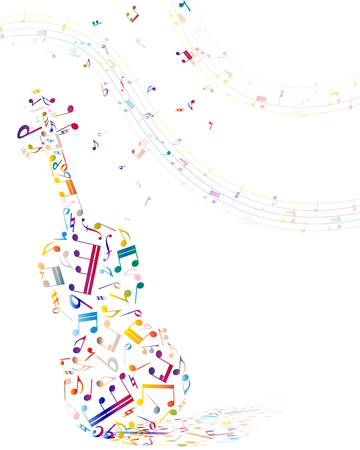 Musical background with violin from colorful notes. Vector illustration.