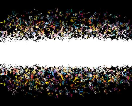 fondo musical de las notas de colores. Ilustración del vector.