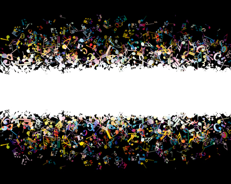 Musical background from  colorful notes. Vector illustration.