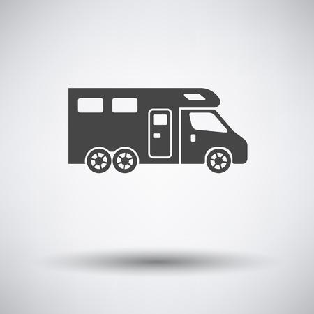 Camping familial icône de la caravane sur fond gris avec une ombre ronde. Vector illustration.