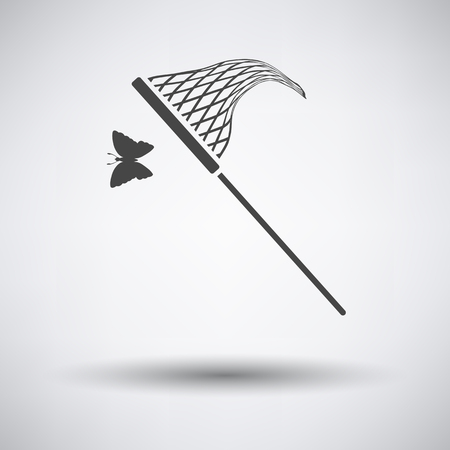 gray netting: Butterfly net  icon on gray background with round shadow. Vector illustration. Illustration