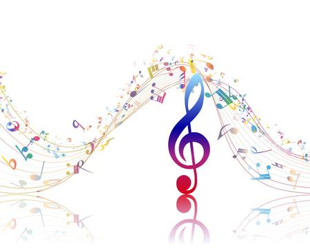 pentagrama musical: Fondo musical con clave y algunas notas de colores. Ilustración del vector.