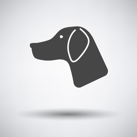 had: Hunting dog had  icon on gray background with round shadow. Vector illustration.
