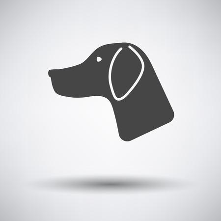 Jachthond had pictogram op een grijze achtergrond met ronde schaduw. Vector illustratie.