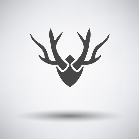 taxidermy: Deers antlers  icon on gray background with round shadow. Vector illustration.