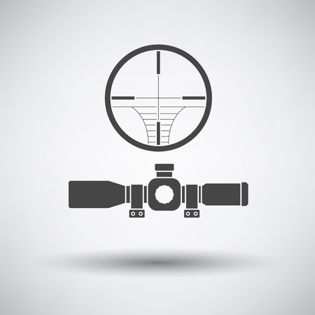 Scope: Scope icon on gray background with round shadow. Vector illustration.