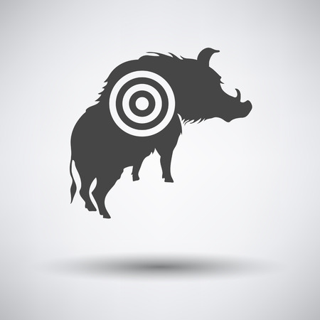 shadow silhouette: Boar silhouette with target icon on gray background with round shadow. Vector illustration.