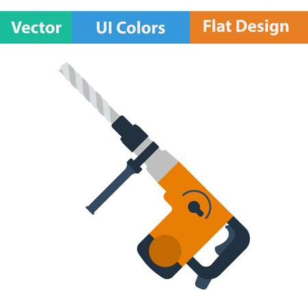 perforator: Flat design icon of electric perforator in ui colors. Vector illustration.