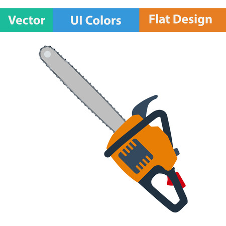 chain saw: Flat design icon of chain saw in ui colors. Vector illustration.
