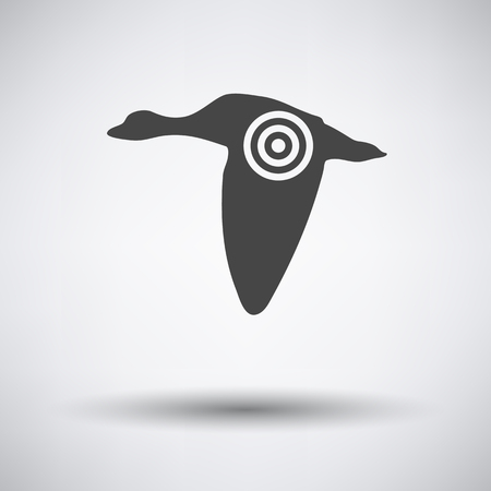 duck silhouette: Flying duck  silhouette with target  icon on gray background with round shadow. Vector illustration. Illustration