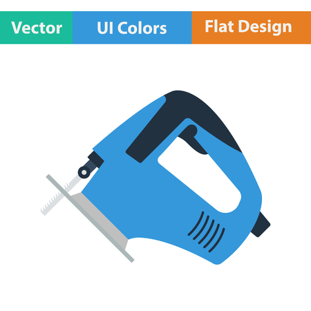 jig: Flat design icon of jigsaw icon in ui colors. Vector illustration.