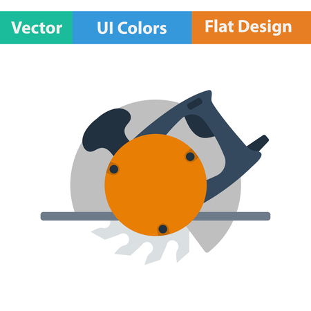 handtool: Flat design icon of circular saw in ui colors. Vector illustration.