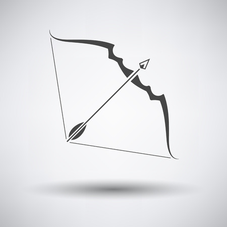 longbow: Bow and arrow icon on gray background with round shadow. Vector illustration. Illustration