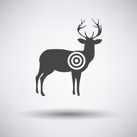 shadow silhouette: Deer silhouette with target  icon on gray background with round shadow. Vector illustration. Illustration