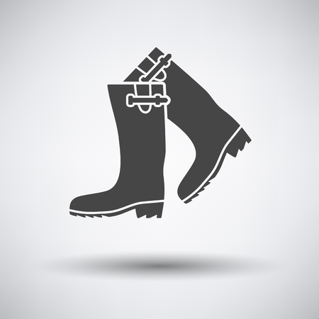 galoshes: Hunters rubber boots icon on gray background with round shadow. Vector illustration.