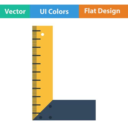 setsquare: Flat design icon of setsquare in ui colors. Vector illustration. Illustration