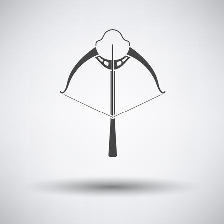 arbalest: Crossbow icon on gray background with round shadow. Vector illustration.