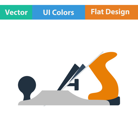 wood working: Flat design icon of jack-plane in ui colors. Vector illustration. Illustration