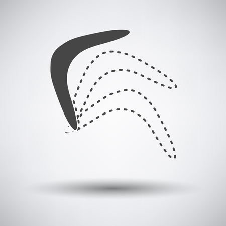 wooden boomerang: Boomerang  icon on gray background with round shadow. Vector illustration. Illustration