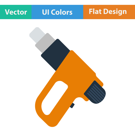 electric dryer: Flat design icon of electric industrial dryer in ui colors. Vector illustration.