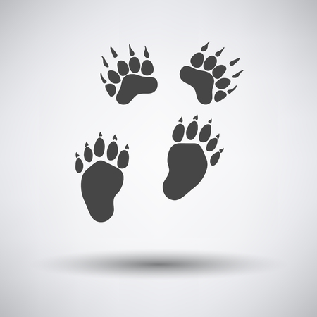 track pad: Bear trails  icon on gray background with round shadow. Vector illustration.