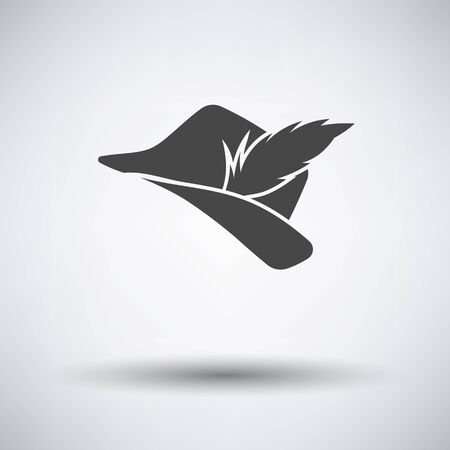 shadows: Hunter hat with feather  icon on gray background with round shadow. Vector illustration. Illustration