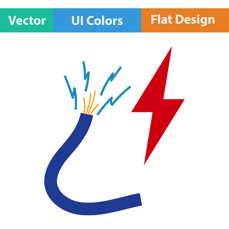 interconnect: Flat design icon of Wire  in ui colors. Vector illustration. Illustration