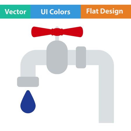 conduit: Flat design icon of  pipe with valve in ui colors. Vector illustration. Illustration