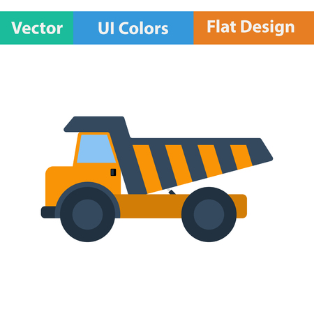 tipper: Flat design icon of tipper in ui colors. Vector illustration.