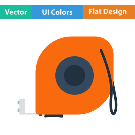 gauging: Flat design icon of constriction tape measure in ui colors. Vector illustration.