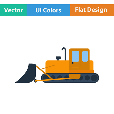 dredger: Flat design icon of Construction bulldozer in ui colors. Vector illustration.