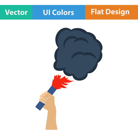 ultras: Football fans hand holding burned flayer with smoke icon. Flat design in ui colors. Vector illustration.